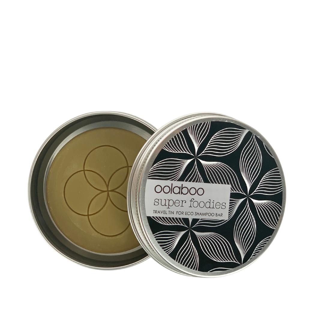 Oolaboo super foodies travel tin + eco shampoo bar